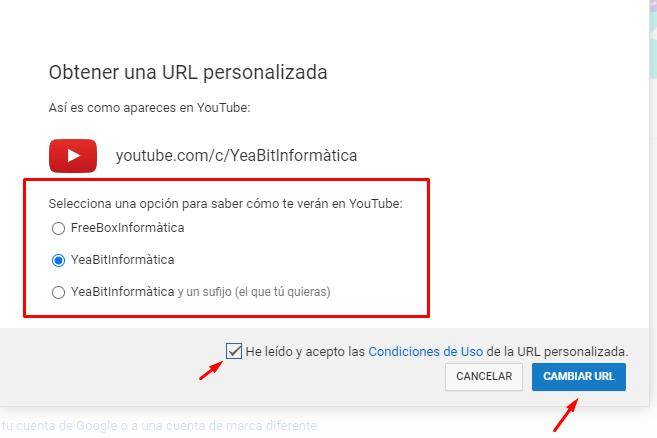 url personalizada youtube 2020