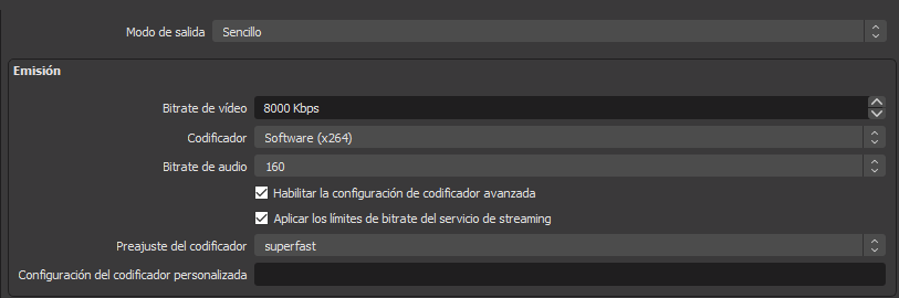 codificado por software OBS studio