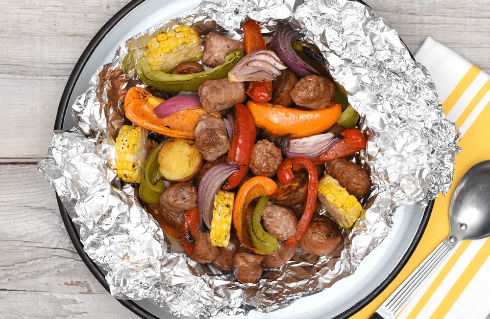 BBQ Turkey Sausage, Potatoes and Vegetable Foil Packs
