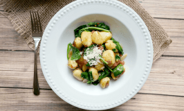 Quick Cheese Skillet Gnocchi with Pancetta and Spinach