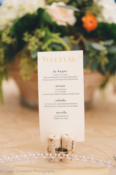 Romantic watercolor menu design with wine cork stand at Big Fake Wedding New England 2016