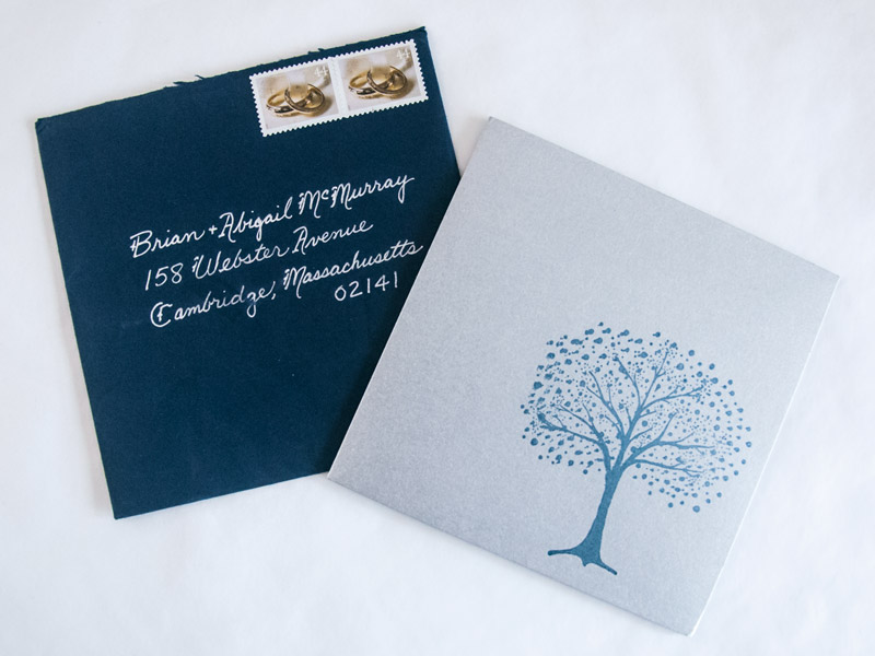 Silver and Blue Winter Wonderland Wedding Invitations yeiou paper