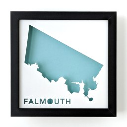 Framed map of Falmouth, Maine