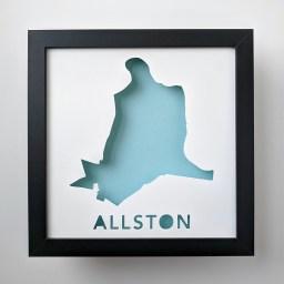 Map of Allston, neighborhood of Boston, MA