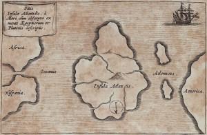 מפת מיקומה המשוער של אטלנטיס