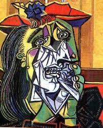 צילום ציור האישה הבוכה של פיקסו