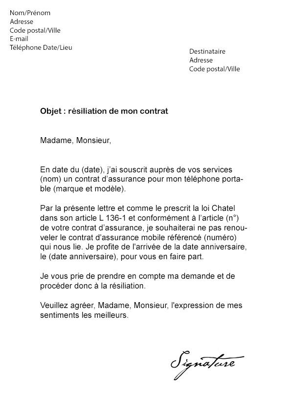 lettre resiliation assurance automobile