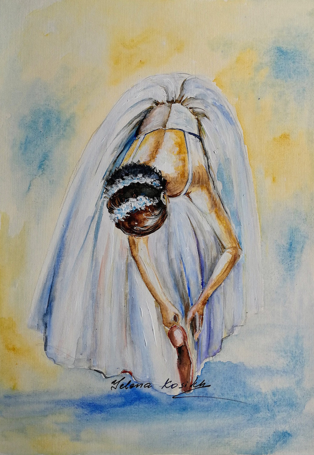 ballerina watercolor painting