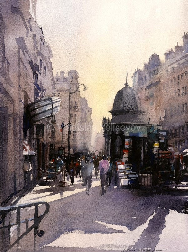 Watercolor Urban Landscape Paintings