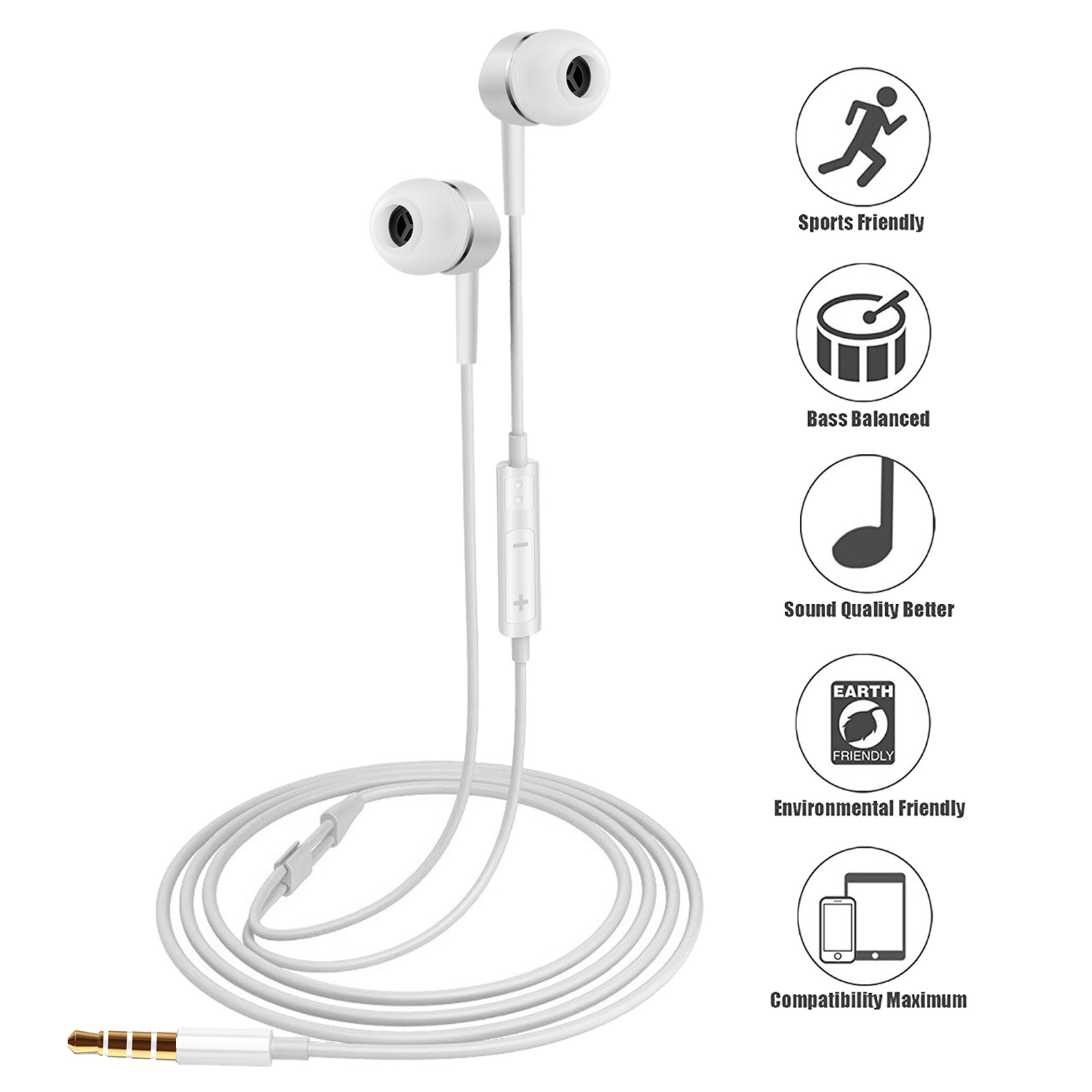 2pcs Genuine Samsung Handsfree Wired Headphones Earphones