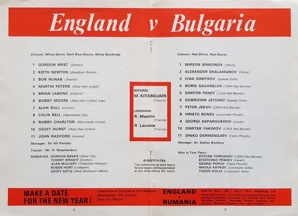 Programme featured: December 11, 1968 - England 1-1 Bulgaria - International friendly match - Honours even in front of an 80,000 crowd at Wembley Stadium - Georgi Asparoukov handed the visitors the lead just after the half-hour mark. Geoff Hurst restoring parity three minutes later.