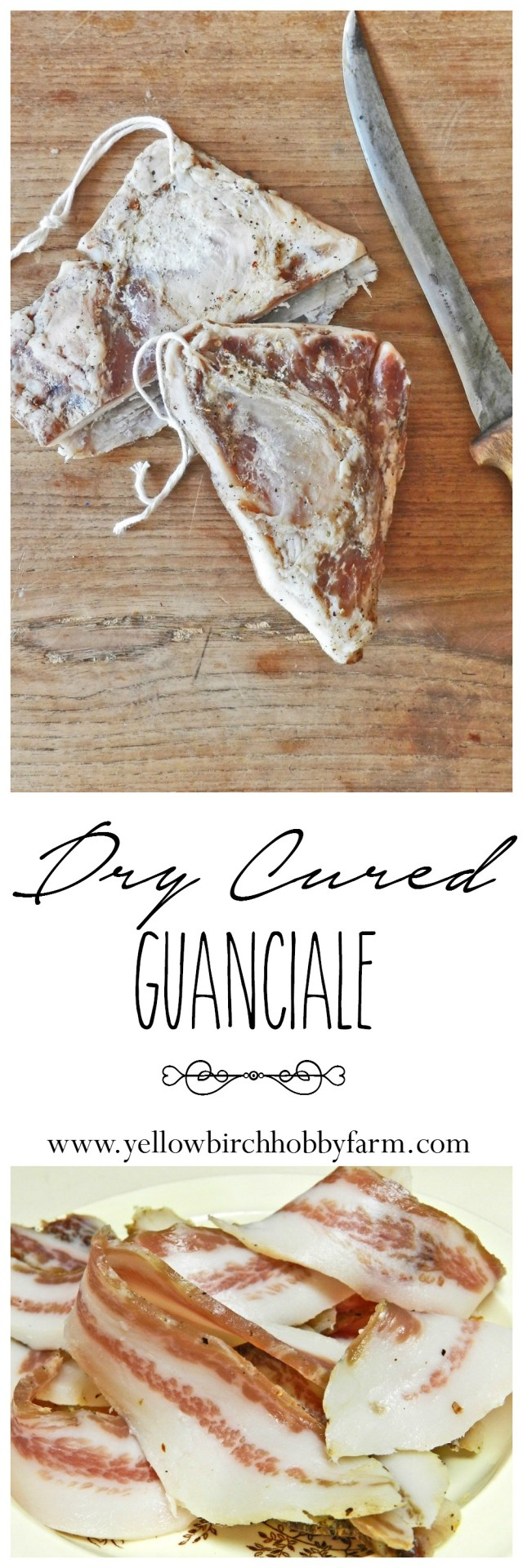 dry cured guanciale- yellow birch hobby farm