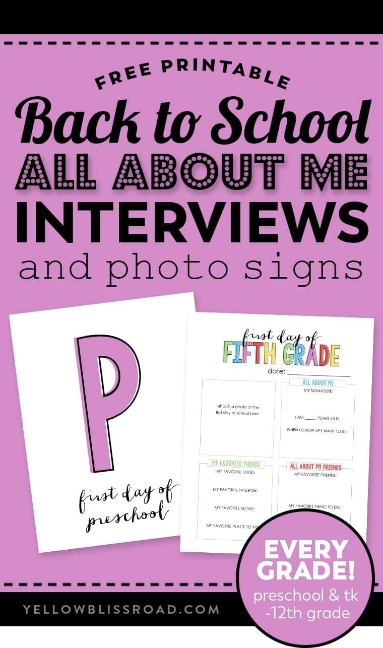 hight resolution of Back to School \All About Me\ Free Printable   YellowBlissRoad.com