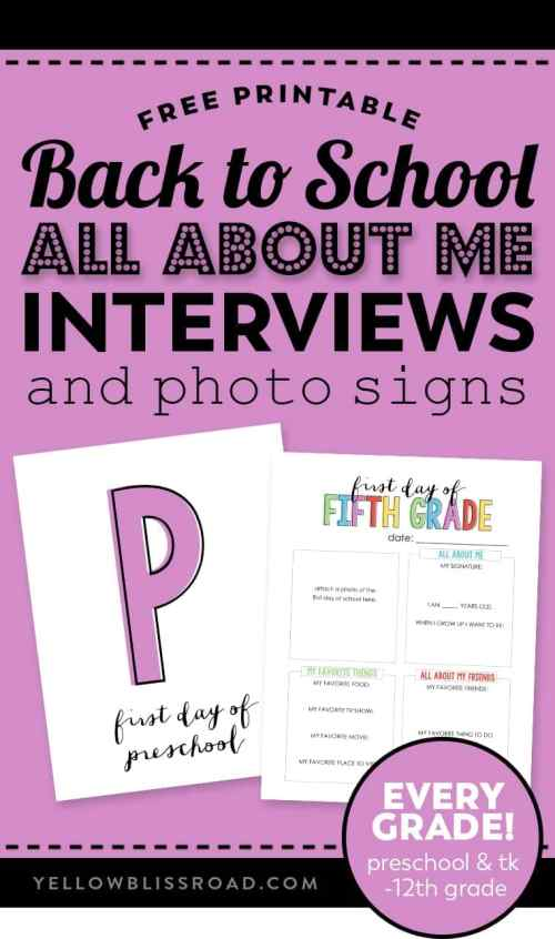 small resolution of Back to School \All About Me\ Free Printable   YellowBlissRoad.com