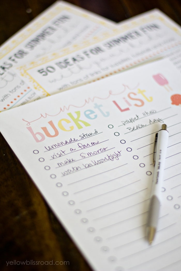 Free Printable Summer Bucket List  Yellow Bliss Road
