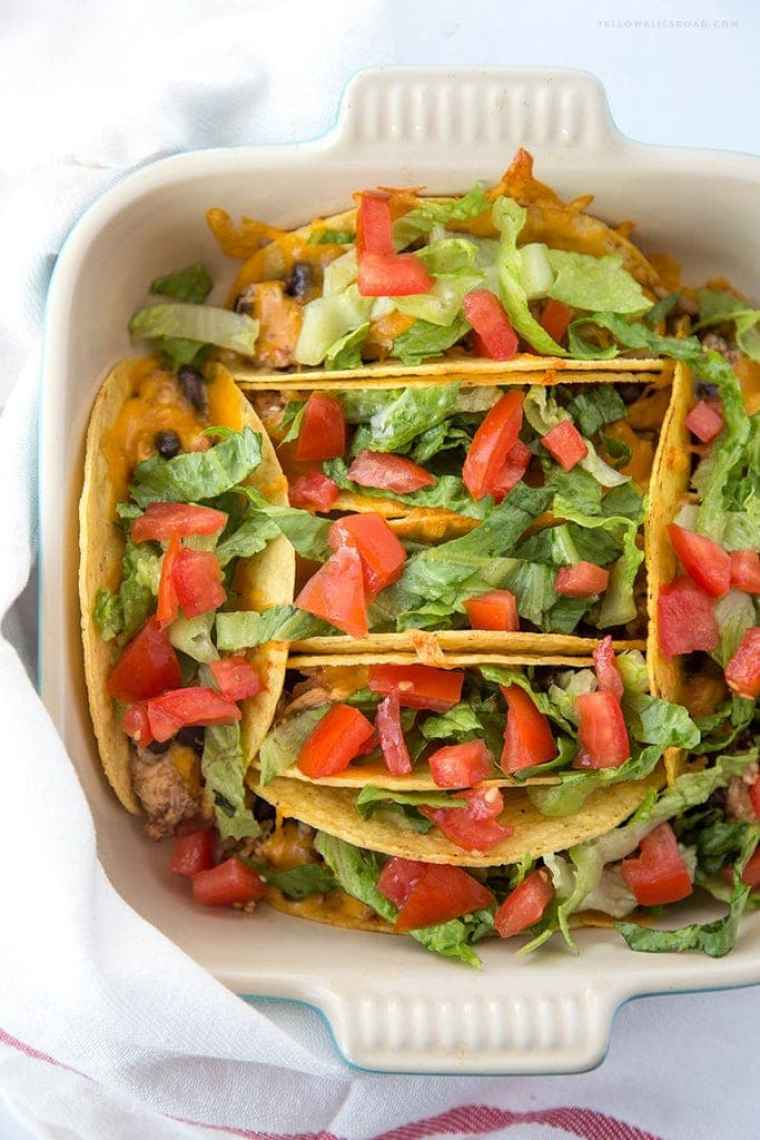 Chicken and Black Bean Baked Tacos {Yellow Bliss Road}