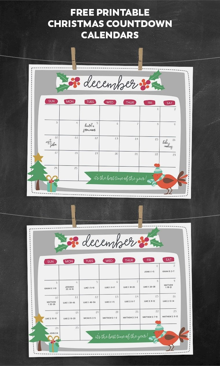 Free Printable Christmas Countdown Calendar for December ...