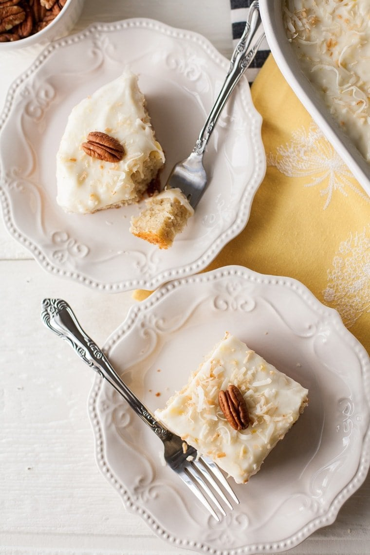Banana Cake with Pineapple Cream Cheese Frosting. The perfect way to use up those ripe bananas!