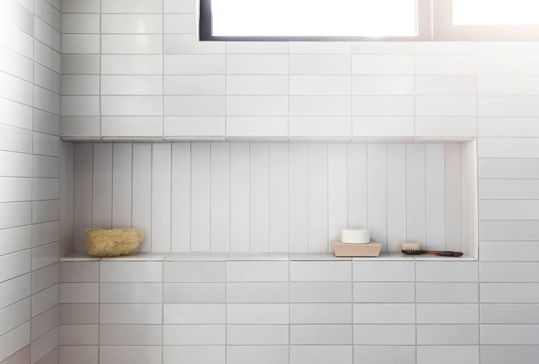 stacked tile in the bathroom yay or