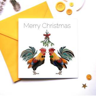 Two Roosters under the Mistletoe
