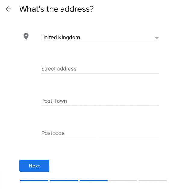 Enter the address of your business on Google My Business