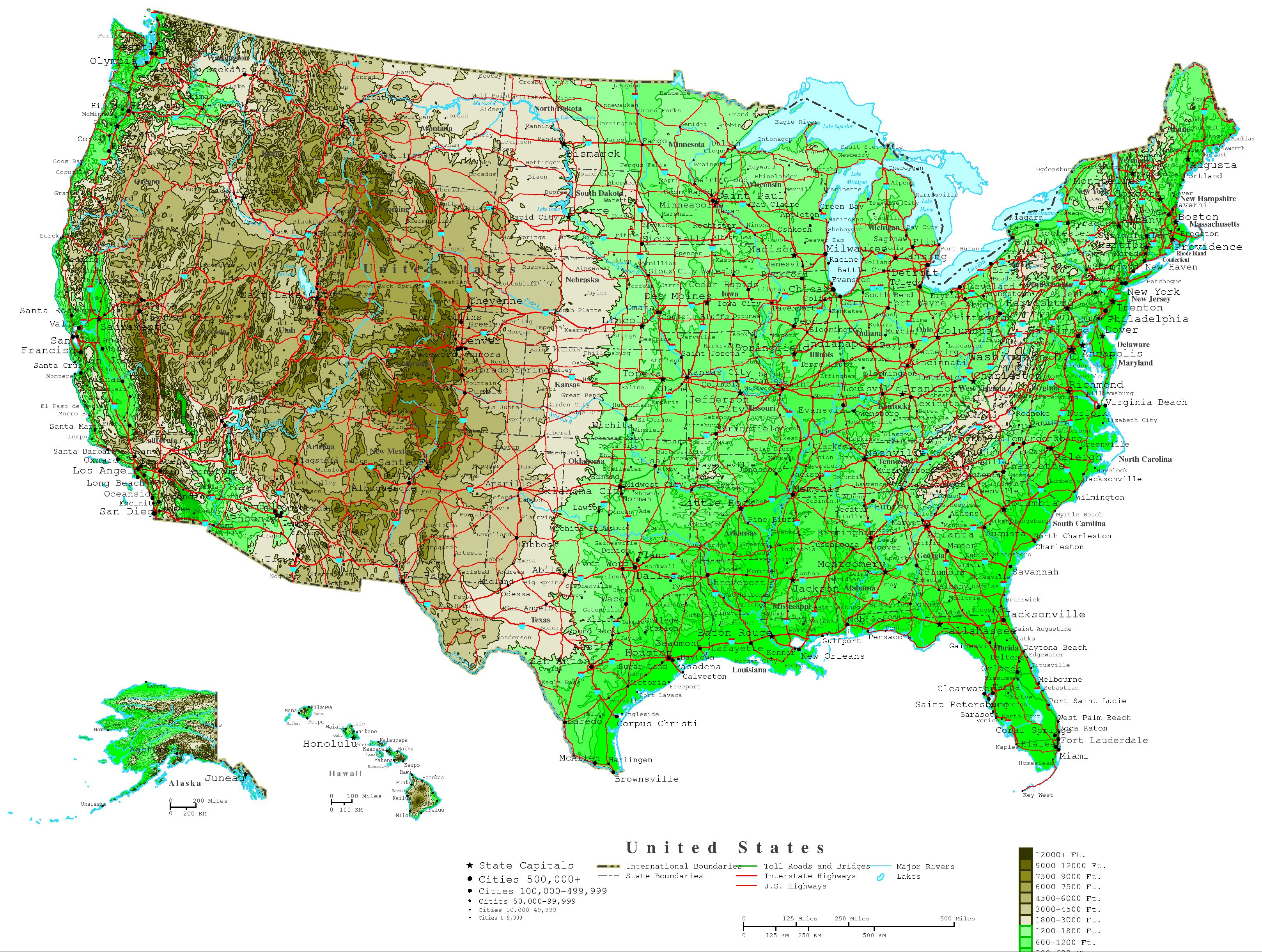You might know most of them, but some of them will take you to task! United States Contour Map