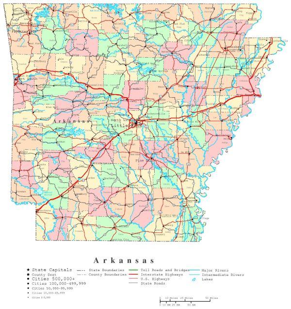 Arkansas Printable Map