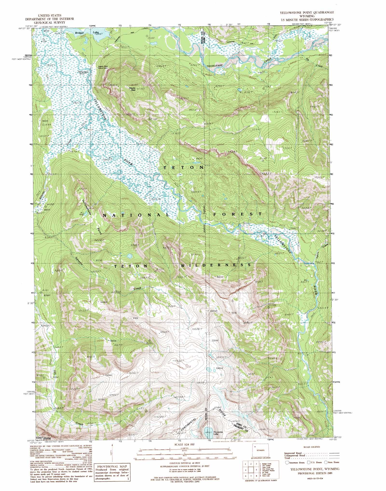 Yellowstone Point Topographic Map Wy
