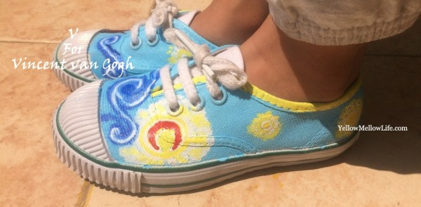 painting The Starry Night over canvas shoes