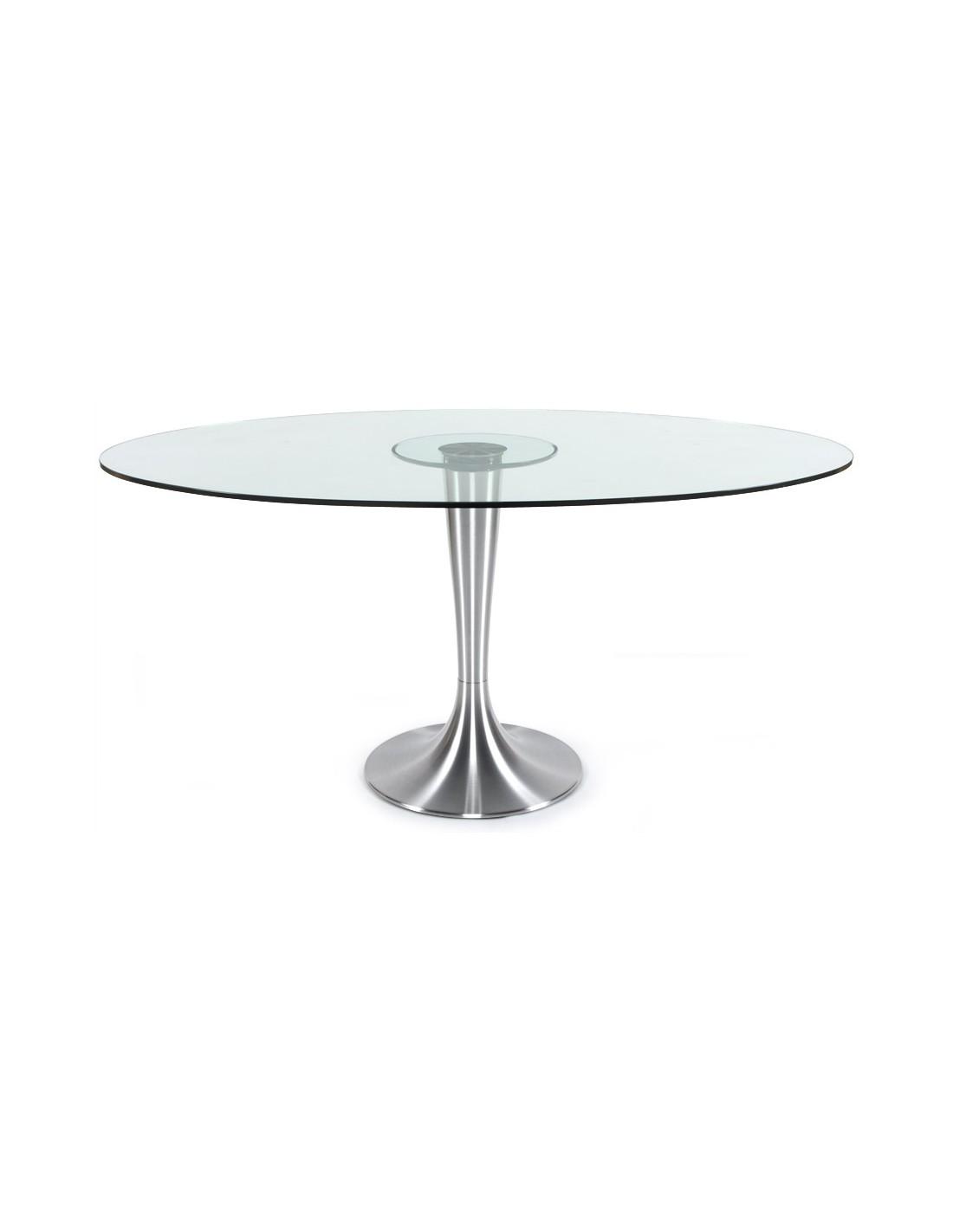 table a manger ovale en verre couleur principale tranparent