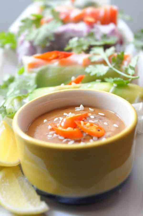 Rice Paper Rolls with Peanut Dipping Sauce