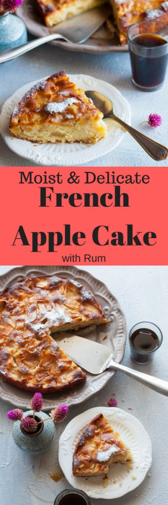Delicate and Moist French Apple Cake with Rum.Super easy apple cake recipe with step by step instructions.