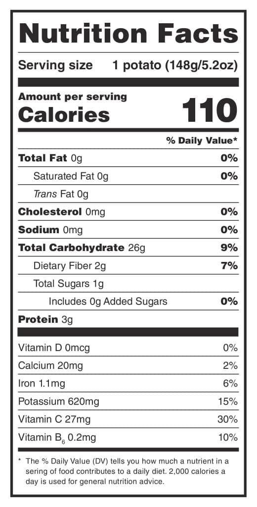 Potato Nutrient Facts