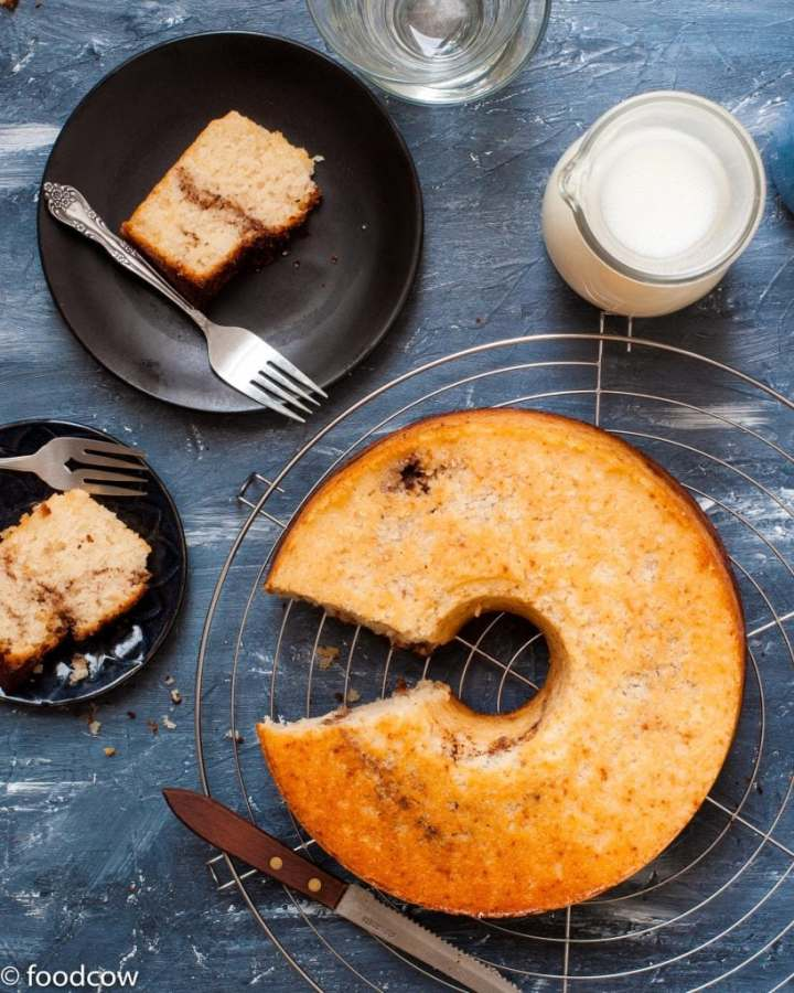 Eggless Cinnamon Cake - Vegetarian Coffee Cake with Swirls of Cinnamon