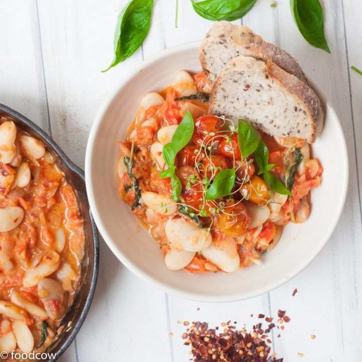 Vegan(Vegetarian) Italian White Butter Beans and Tomato Stew with herbs and roasted cherry tomatoes.Easy to make hearty Lima Beans Stew