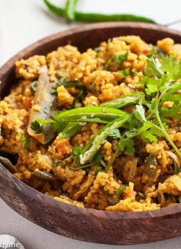 Healthy Foxtail Millet Tehri - Vegetarian Indian Turmeric Millet Pulav Recipe