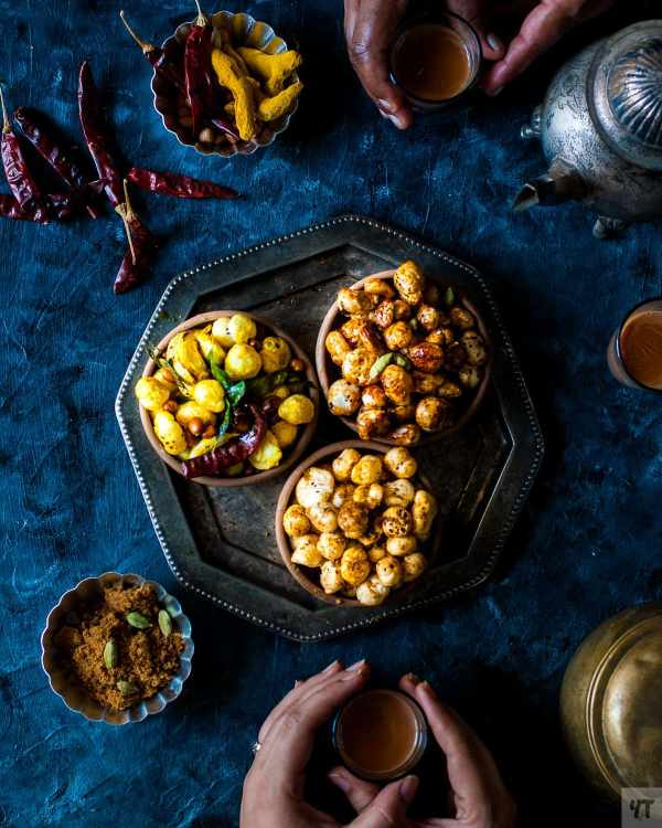 Roasted Makhana Recipe - Three ways -. Curry leaf and Ghee roasted, Sweet Jaggery and cardamom and Italian herbs makhana. Healthy, Vegan, Gluten Free snack.