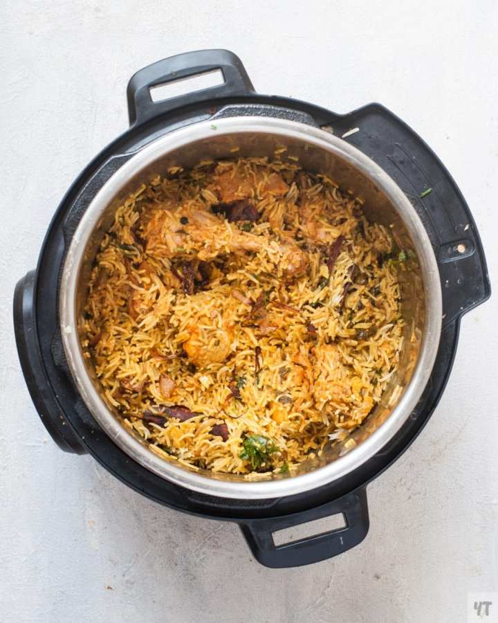 How to make Chicken Biryani in Instant Pot - One Pot ,tried and tested recipe of Hyderabadi Chicken Biryani made with Basmati Rice,Herbs and whole Spices