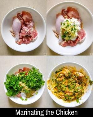 marinating the chicken for Instant Pot Chicken Biryani