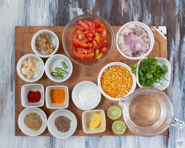 Ingredients for Instant Pot Channa Dal