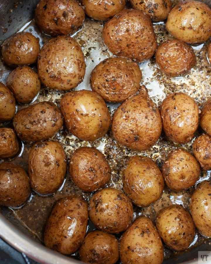 Close up of Instant Pot Roast Potatoes