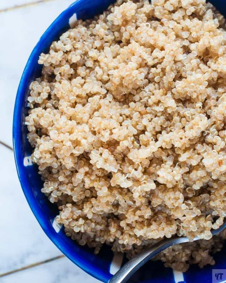 Instant Pot Quinoa in a blue bowl