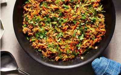 Zucchini Fried Rice serves 4 and takes 25 minutes