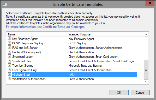 """(Example shown uses """"vSphere 6 test"""" because """"vSphere 6.0"""" was already issued"""