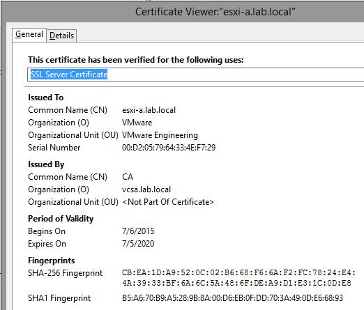 ESXi Original SSL thumbprint