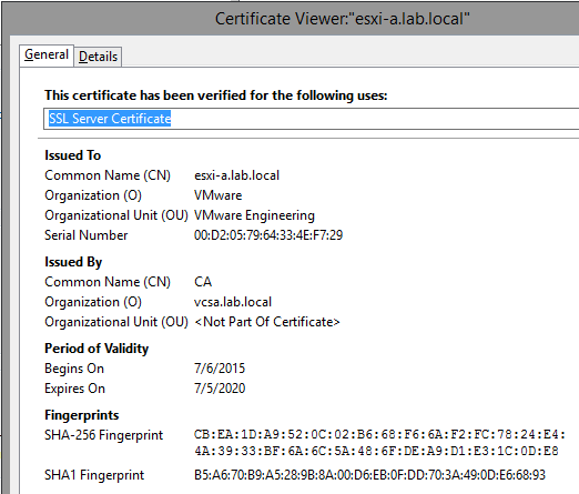 ESXi Original SSL thumbprint