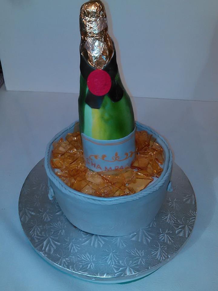 3D Champagne Bottle Ice Bucket Cake Yeners Way