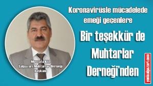 Şalpazarı Muhtarlar Derneği Başkanı Mustafa Kel koronavirüsle mücadeledede emek harcayan herkese teşekkür etti