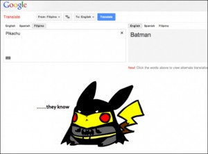 Google translate pikachu batman