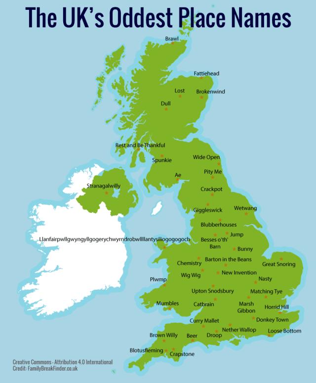 Nombres de Lugar Curiosos de Reino Unido